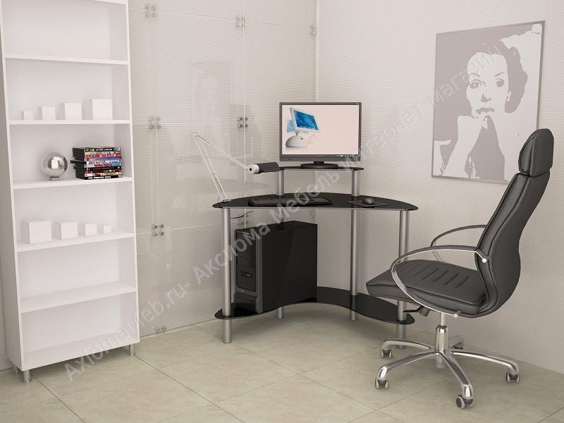 угловой стеклянный компьютерный стол Mist 01 мист 01