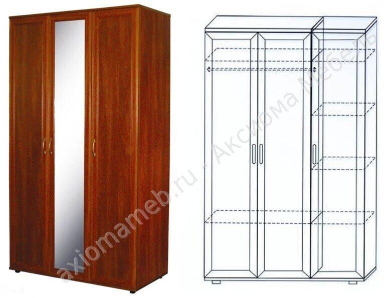 Шкаф для одежды и белья трехдверный шк4.